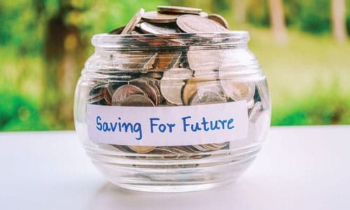 Change in jar with 'saving for future' written on it